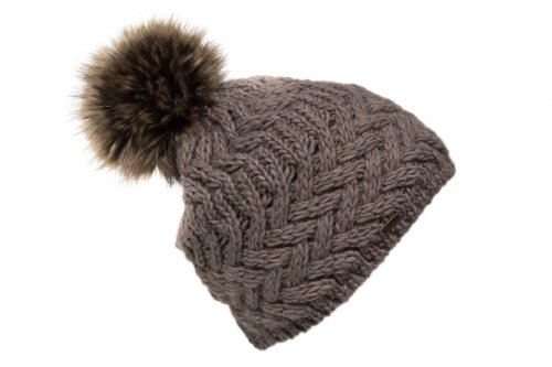 b7a819ec6f7 Coarse knitted bobble hat with fur pompom and fleece
